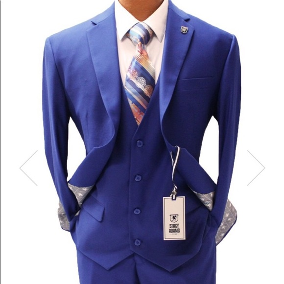 0003279d Stacy Adams Suits & Blazers | Bud Royal Blue Vested Modern Fit Suit ...
